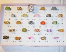 COOL CHIC WHOLESALE VINTAGE COLLECTION 25 LUCITE RINGS FUNKY GROUP D MIXED SIZE