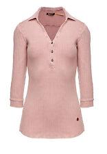 khujo Damen Shirt RONJA rosa Rippstrick Poloshirt 3/4 Arm SALE -60%!