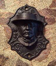 Vintage Cast Iron Black Amish Quaker Man Head/Face Match Safe Holder Lb77