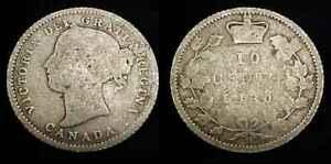 CANADA 1880 H Silver Ten Cents G