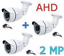 KIT 3 TELECAMERE AHD ESTERNO VIDEOSORVEGLIANZA 36 LED INFRAROSSI 2,0 MP 3,6mm