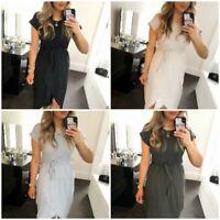 Ladies/Women's Short Sleeve Tie Up Belted Midi Wrap Summer T-Shirt Maxi Dress