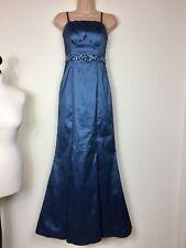 ARIELLA TEAL BLUE SILKY SATIN DETACH STRAPLESS LONG MAXI BALLGOWN PROM DRESS 8