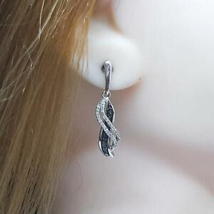 Genuine .42ctw Fancy Black & H-SI Diamond 925 Sterling Silver Earrings