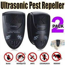 2 Ultrasonic Pest Repeller Electronic Reject Bugs Spiders Mouse Roach Mosquitoes
