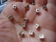 12 Thai Karen Hill Tribe .999 Fine Silver Square Cube Handmade Beads, 4x4x4mm