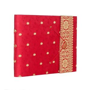 """Red Sari Fabric Cover Photo Album, Holds 120 6x4"""" or 60 7x5"""" Photos- 2nd Quality"""