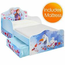 Disney Frozen 2 Toddler Bed with Storage Plus Deluxe Foam Mattress Kids Bedroom