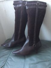 3c859153b5a8f Ladies New Brown Leather And Suede Kitten Heel Knee High Boots Marks &  Spencer 3