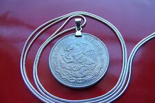 "1980-1982 Mexican Eagle & Snake 20 Pesos Pendant on 24"" White Gold Filled Chain"