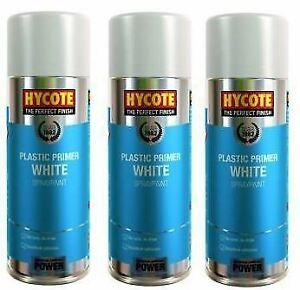 3x Hycote XUK610 White Plastic Primer Spray Paint 400ml Aerosol Preparati