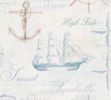 A.S. Simply Decor 33537-1 335371 Papier Tapete Anker Schrift Bad weiß blau braun