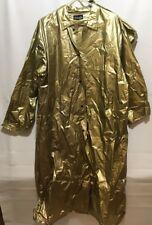Vintage SHERAIN GOLD VINYL RAINCOAT Jacket Hood Rainwear Beau Blue Bonnet Size L