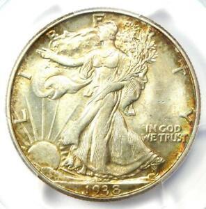 1938-D Walking Liberty Half Dollar 50C Coin - Certified PCGS AU58 - Rare Date!