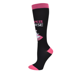 Super Nurse! Medical 10-14mmHG Fashion Compression Socks Pink & Black