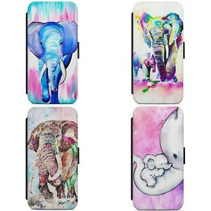 Painted Colourful Elephant WALLET FLIP PHONE CASE COVER FOR IPHONE SAMSUNG