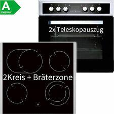 Edelstahl Einbauherd Set Einbau Ceran Kochfeld mit 2x Teleskopauszug Timer Grill
