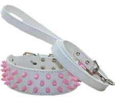 Leather Pink Spiked Studded Dog Collar Leash Lead set for Large Breeds Pit Bull