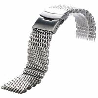Silver Stainless Steel Buckle Straight End Mesh Watch Band Strap 22mm Fit Seiko
