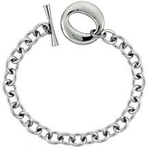 Stainless Steel Cable Link Chain Bracelet w/ Large O Toggle Clasp
