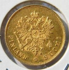 FINLAND under Russia, Alexander II: 1881-S gold 10 MARKKAA -only 100K minted; AU