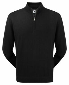 FootJoy 100% Lambswool Lined 1/2 Zip Golf Pullover 95390 Black