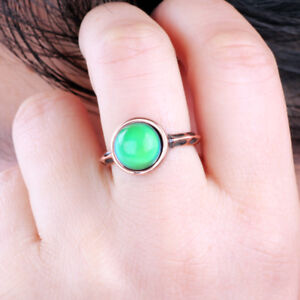 Small Round Mood Stone Ring Color Change Emotion Feeling Rose Gold Plated Ring