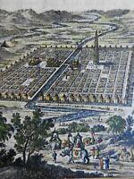 Ancient Babylon Tower of Babel Hanging Gardens 1683 Mallet bird's eye view