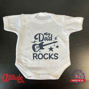 Plain Baby Grow-Printed-My Dad Rocks Guitar n Stars -100 % Cotton Baby Grows
