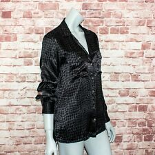 EQUIPMENT Femme Women's Keira Silk Button up Blouse Black Gray Print Size Small