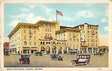 Tucson Arizona 1920s Postcard Santa Rita Hotel Cars Automobiles
