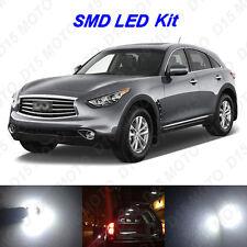 14 x White LED Interior Bulbs + License Plate Lights for 2009-2012 Infiniti FX35