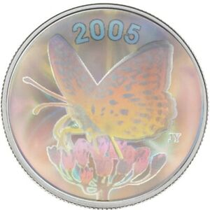 Butterfly: Great Spangled Fritillary 2005 Canada 50 cents Sterling Silver Coin