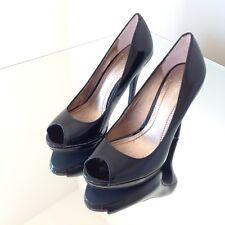 553e457151 NWB BCBGeneration Black Patent Leather Peep Toe Pump Heels Women's Size 6
