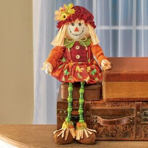 Fabric Girl Scarecrow Dangling Leg Shelf Sitter Halloween Thanksgiving Statue