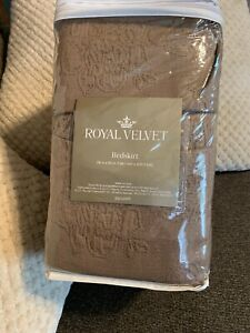 """Royal Velvet Coralie King Size Bedskirt 78""""x80"""" With 15"""" Drop Lenght Taupe Ess"""