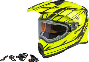 GMAX  AT-21S Epic Yellow Snow Helmet Electric Shield Cord Free Size Exchanges