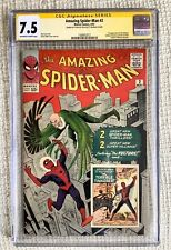 Amazing Spider-man # 2 CGC 7.5 SS Stan Lee, 1st Vulture Super Ditko Fantastic 3