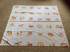 Mexican Theme Vintage Tablecloth With Sombrero, Cactus, Donkey, Man And Women