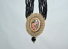 "VICTORIAN CLUSTER BLACK PEARL MULTILAYER NECKLACE PAISLEY PENDANT 14"" LENGTH"