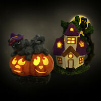Halloween Black Cat Pumpkins Haunted House Owl Full Moon Ceramic LED Light Decor