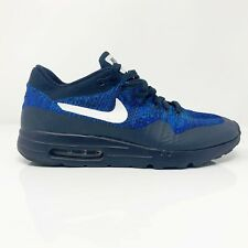 Nike Mens Air Max 1 Ultra Flyknit 843384-401 Blue Running Shoes Lace Up Size 9.5