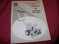 International 60 Self-Propelled Snow Thrower Blower Manual Unused