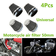 4x Tapered Chrome Pod 50mm Black Motorcycle ATV Air Filter Mushroom Head Cleaner