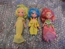 Vtg Lot 3 Kenner Rose Petal Place Blue Lily Fair Yellow Daffodil & Pink Dolls