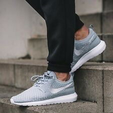 NIKE ROSHE NM FLYKNIT Running Trainers Shoes Gym Casual - UK 9 (EU 44) Wolf Grey