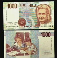 Historical Authentic Italy 1000 Lire 1990 October 3 UNC Brand New 1 Bill