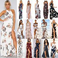 Women Bohemian Floral Split Maxi Long Dress Cocktail Party Summer Beach Sundress