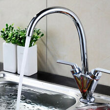 New TWIN LEVER SWIVEL CHROME KITCHEN SPOUT MODERN MONO SINK BASIN MIXER TAP