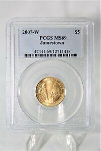 MODERN COMMEMORATIVES 2007-W JAMESTOWN $5 PCGS MS69 18,623 MINTED RARE